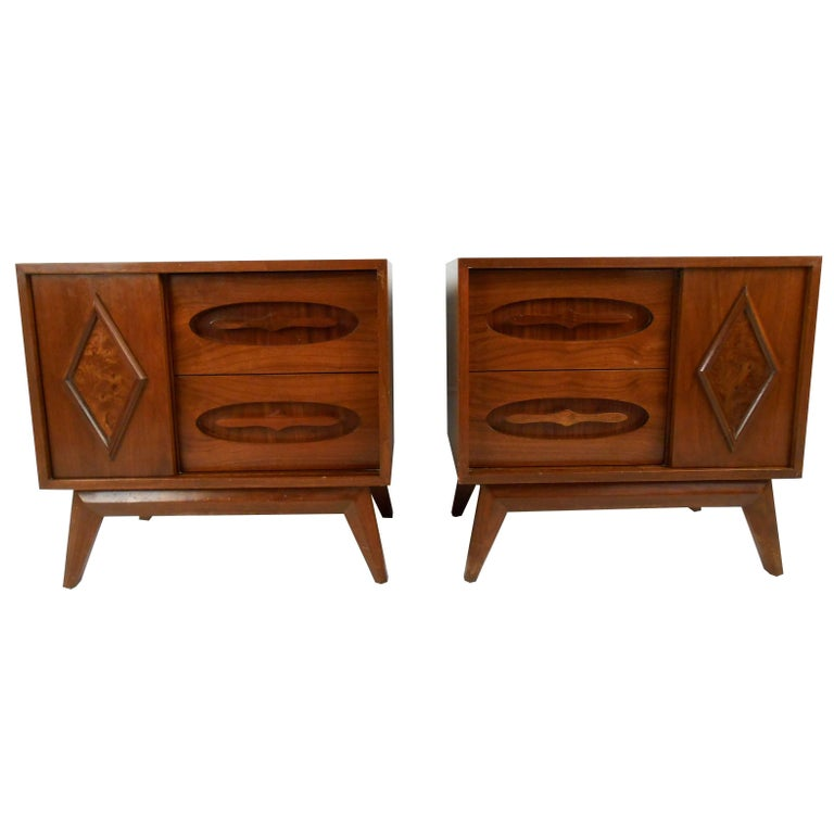 Pair of Vintage Modern Walnut End Tables