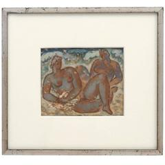 Impressionist Painting of Two Female Nude Bathers by H.J. Van Piggelen