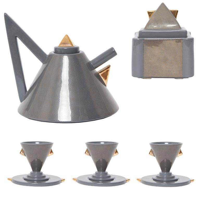 "1981, Matteo Thun, ""Nefertiti"" Grey and Gold Ceramic Tea Set for Memphis Milano"