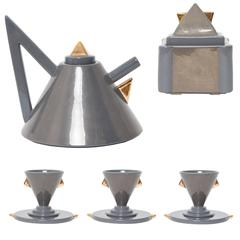 "1981, Matteo Thun, ""Nefertiti"" Grey and Gold Ceramic Tea Set for Memphis Milano"