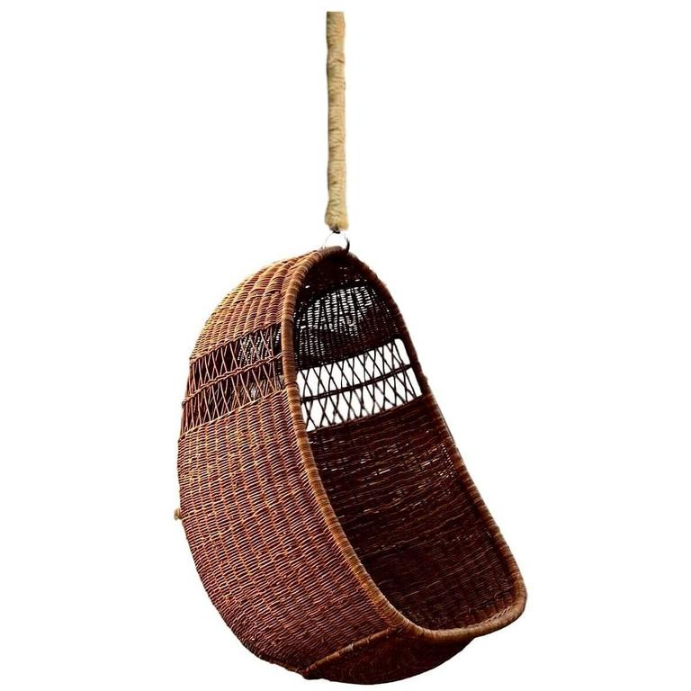 Rattan And Wicker Hanging Chair At 1stdibs