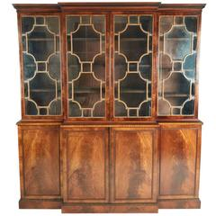 Quality Antique Mahogany Astragal Glazed Breakfront Bookcase