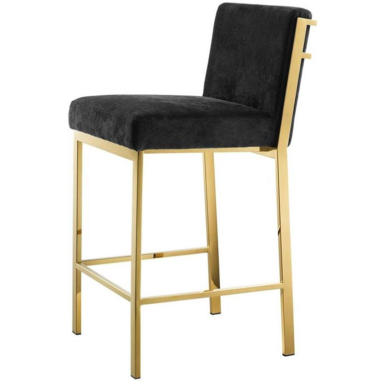Soft Bar Stool In Gold Or Polished Stainless Steel Or