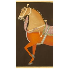 Equestrian Portrait Painted on Linen with Gold Leaf by French Artist