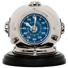 Sea Helmet Clock in Nickel Finish on Black Base