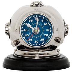 Sea Helmet Clock in Nickel Finish on Black Base