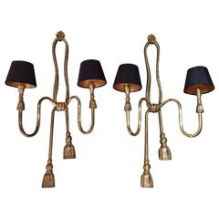 Pair of Large Valenti Brass Rope and Tassle Wall Lights