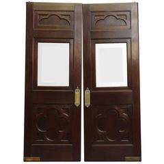 1910s Clover Burled Walnut and Beveled Glass Doors, Original Ornate Push Plates