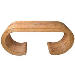 Caned Bamboo Console Table