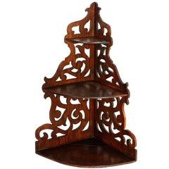 19th Century Corner Shelf, in Solid Walnut Hand-Carved, Restored Wax Finished