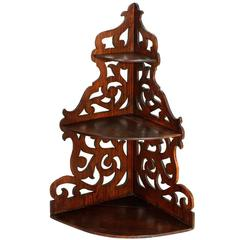 19th Century Corner Shelf, in Solid Walnut Hand-Carved, Restored Wax Finished