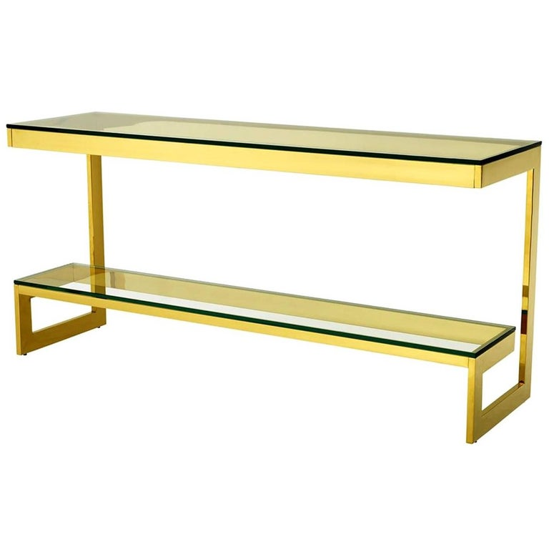 Double Top Console Table in Gold Finish or Bronze Finish