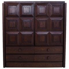 Brown Brutalist Oak Bar Cabinet, Belgium, 1970s