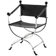 Hilton Chair in Nickel Finish and Black Leather