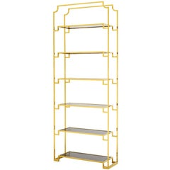 Stantord Bookshelves in Gold Finish with Smoked Glass