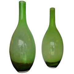Pair of Large Green Glass Vases