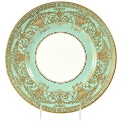 Set Ten Stunning Turquoise Elaborately Gilded Dinner/Presentation Plates