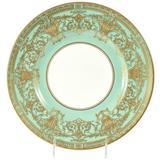 Set Ten Stunning Turquoise Elaborately Gilded Dinner/Presentation Plates