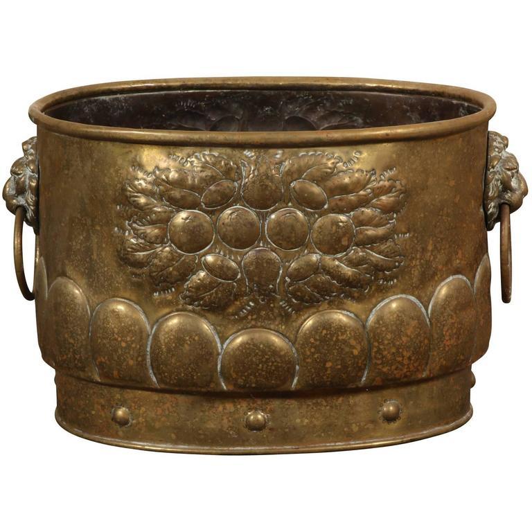 18th or 19th Century Brass Repousse Jardinière