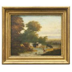 19th C. English Painting of Man with Cows Wading in a Stream