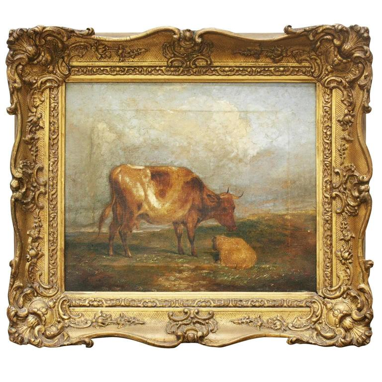 19th Century English Framed Painting of Cows