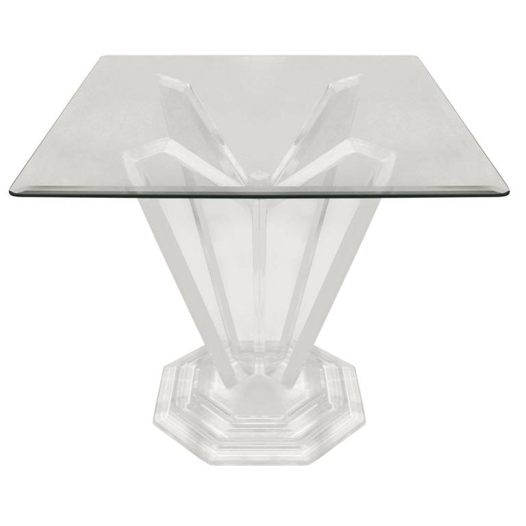 Sculptural Lucite Side Table with Stepped Base, 1970s