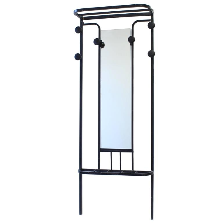French Art Deco Coat Rack Black Metal with Center Mirror
