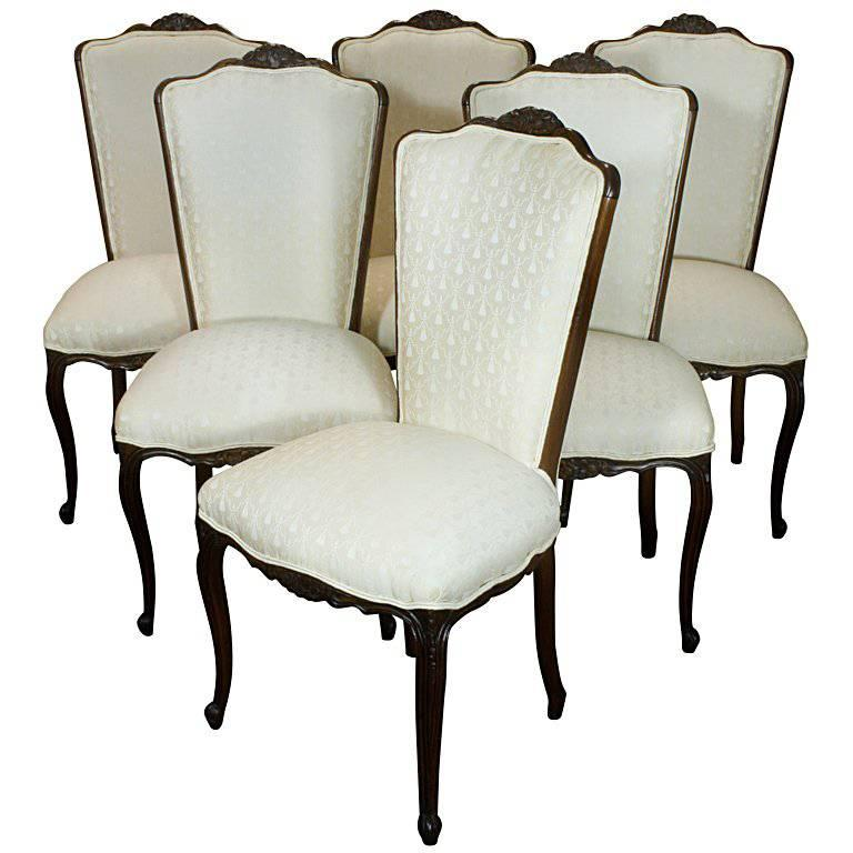 b34b8a37e2311 Set of Six Louis XV Style Dining Chairs For Sale. A nice set of six French  high back upholstered ...