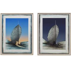 Diptych Lithographs by Susan Hall 'Landfall State I and II'