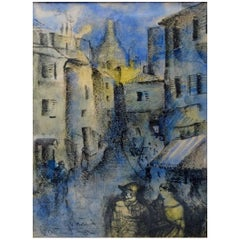 Mogens Vantore, Scenery from Paris, Oil Crayon and Watercolor on Paper