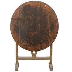 Antique French Rustic Wine Tasting Table with Butterfly Wedge, Late 19th Century