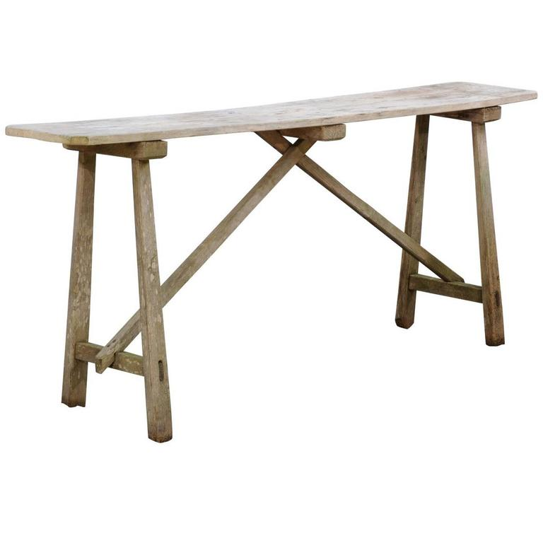 Rustic French Pine Narrow Console Table With Natural Finish And Trestle  Base 1