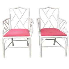 Pair of 19th Century Chippendale Style Bamboo Chairs
