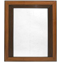 Italian Walnut and Ebony Wood Framed Square Mirror, circa 1940