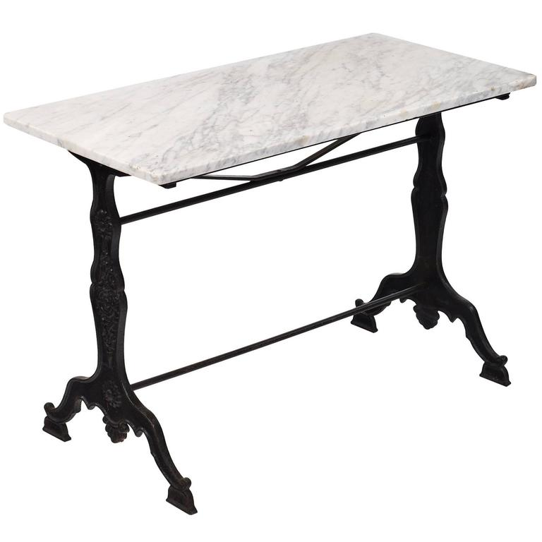 French Antique Marble Bistro Table For Sale