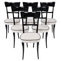 Paolo Buffa Style Italian Modernist Dining Chairs