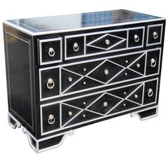 Maitland Smith Black Leather and Chrome Chest