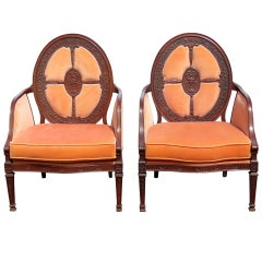 Fine Pair English Mahogany Adams Style Upholstered Back Dining Arm Chairs