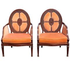 Pair of Carved Walnut Upholstered Armchairs