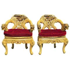 Pair of Asian Style Carved Armchairs with Dragons