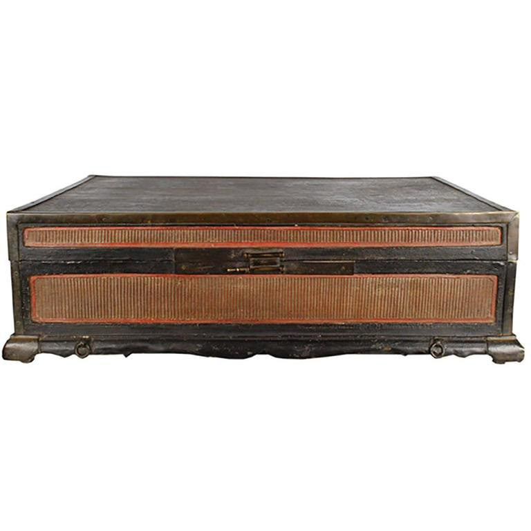 18th Century Chinese Finely Woven Scroll Trunk