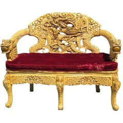 Dragon Carved Painted Chinese Asian Sofa Settee