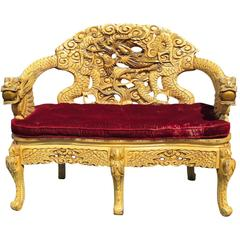 Asian Style Carved Settee