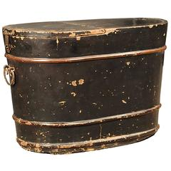 Chinese Black Lacquer Oval Keeper's Trunk
