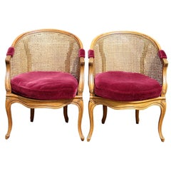 Pair of Carved Walnut and Caned Side Chairs