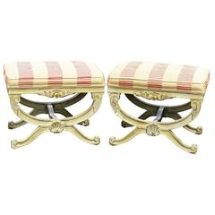 Pair of Distressed Cream Painted Carved Upholstered Curule Stools