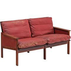 Illum Wikkelsø 'Capella' Sofa in Original Red Leather and Rosewood