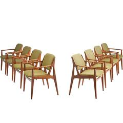 Large Set of Eight 'Ella' Dining Chairs by Arne Vodder in Teak