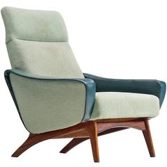 Scandinavian Armchair in Mint Green and Wood