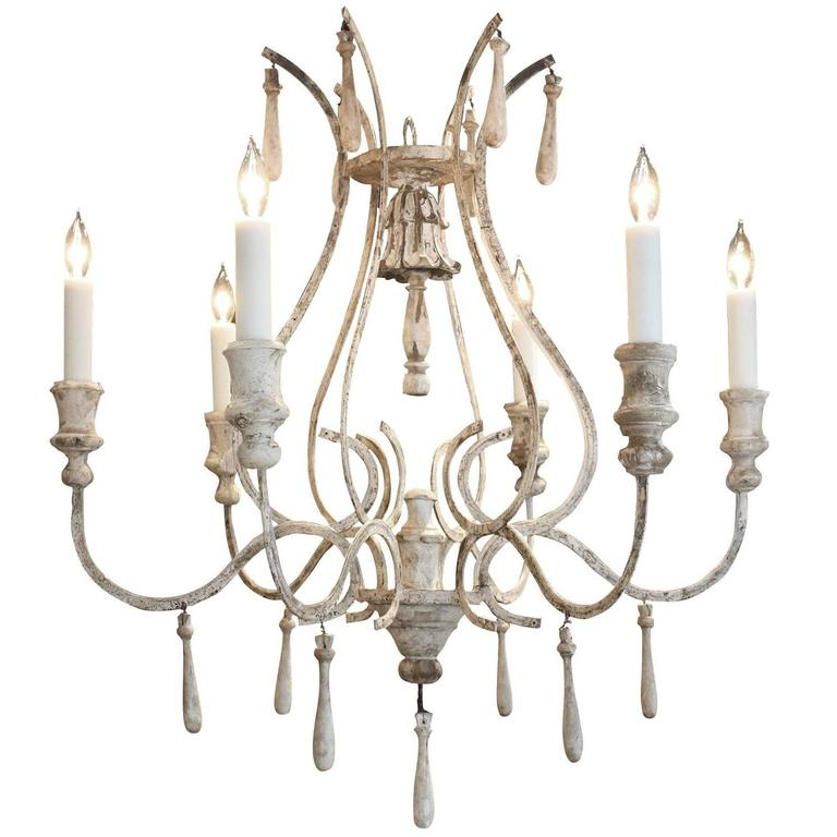 Wood And Iron Chandelier In Plaster White Finish For Sale